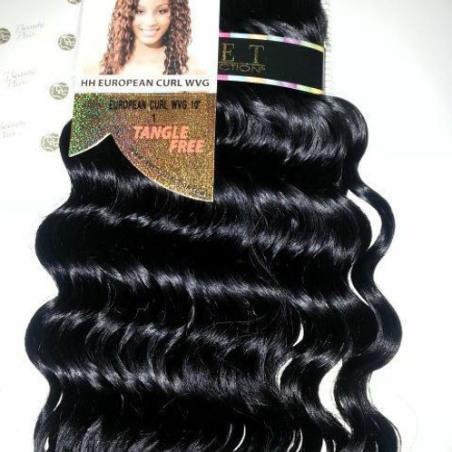 100% HUMAN HAIR EUROPEAN CURL WEAVE# 1;CURLY;WET& WAVE ;JANET;GOLD K;PLATINUM