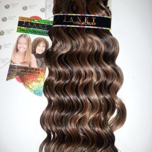 100% HUMAN HAIR EUROPEAN CURL WEAVE#1B/27/30;CURLY;JANET;GOLD K;PLATINUM;WET& W