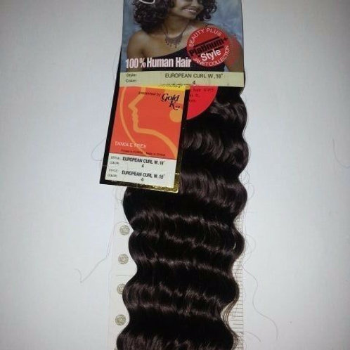 100% HUMAN HAIR EUROPEAN CURL WEAVE#4;CURLY;JANET;GOLD K;PLATINUM;WET& WAVE
