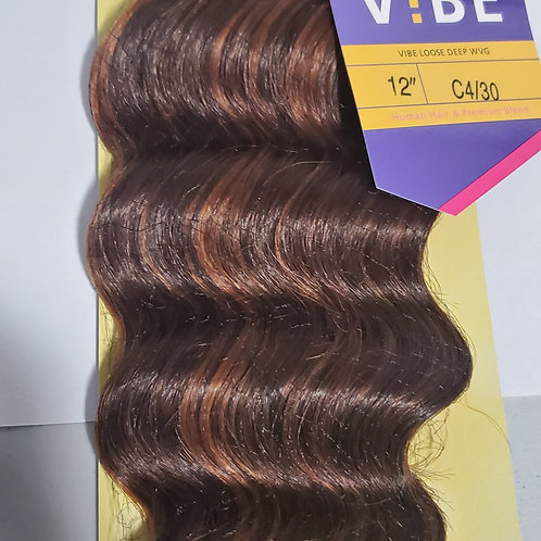 Human hair & premium blend ; Loose deep weave; weft; sew-in; curly;Outre vibe;