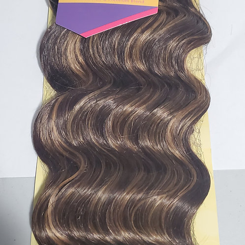 Human hair & premium blend ; Loose deep weave; weft; sew-in; curly;Outre vibe