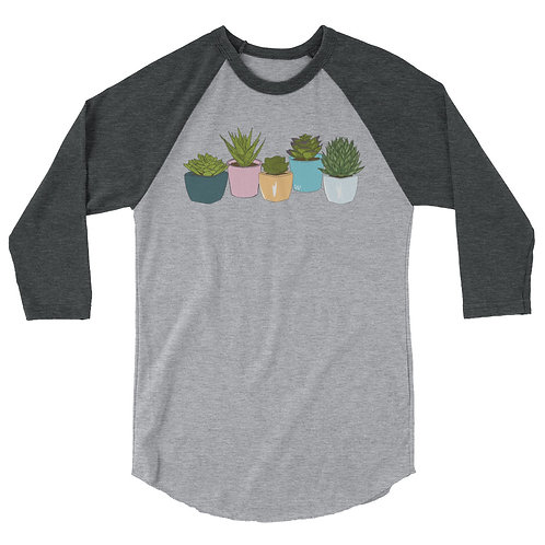 Succulents - 3/4 sleeve raglan shirt