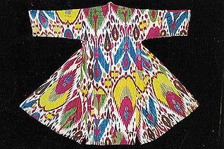 Uzbekistan silk warp Ikat pattern robe - 19th century