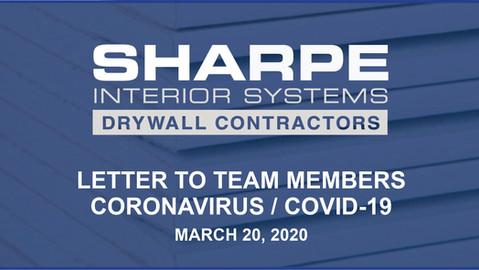 Letter to Team Members - Coronavirus / COVID-19