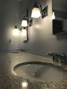 Master Bathroom with Granite Double Vani