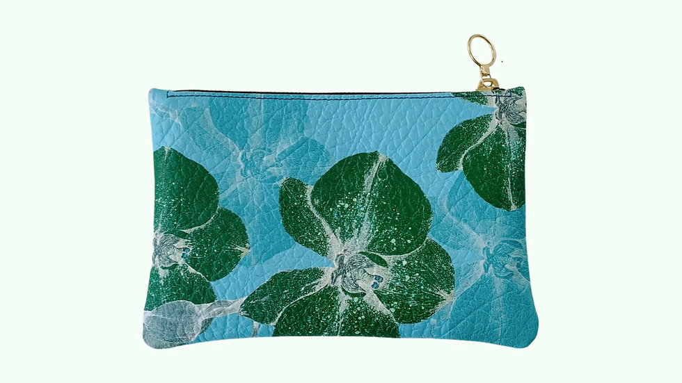 'Orchids in Bloom' Turquoise and Green clutch bag