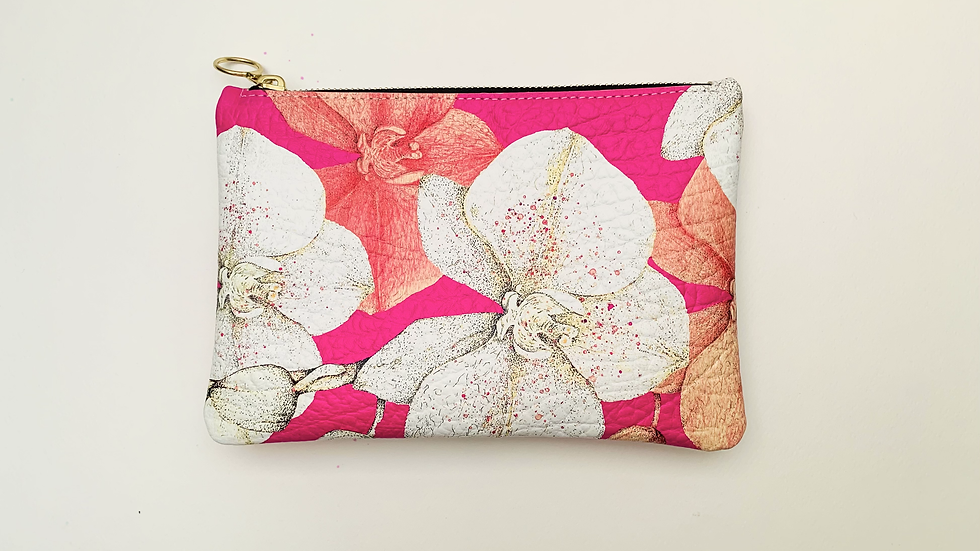 'Orchids in Bloom' in fuchsia - Leather clutch