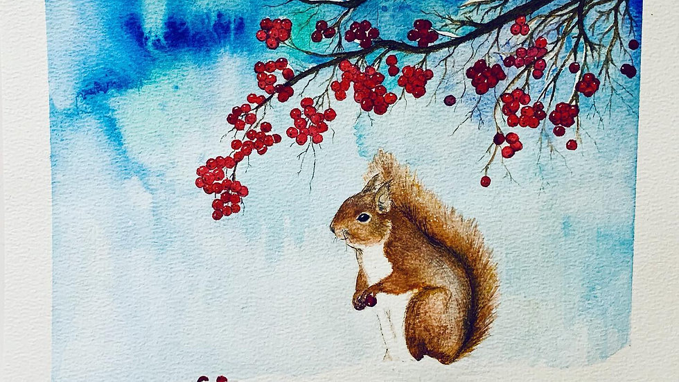 Squirrel and berries