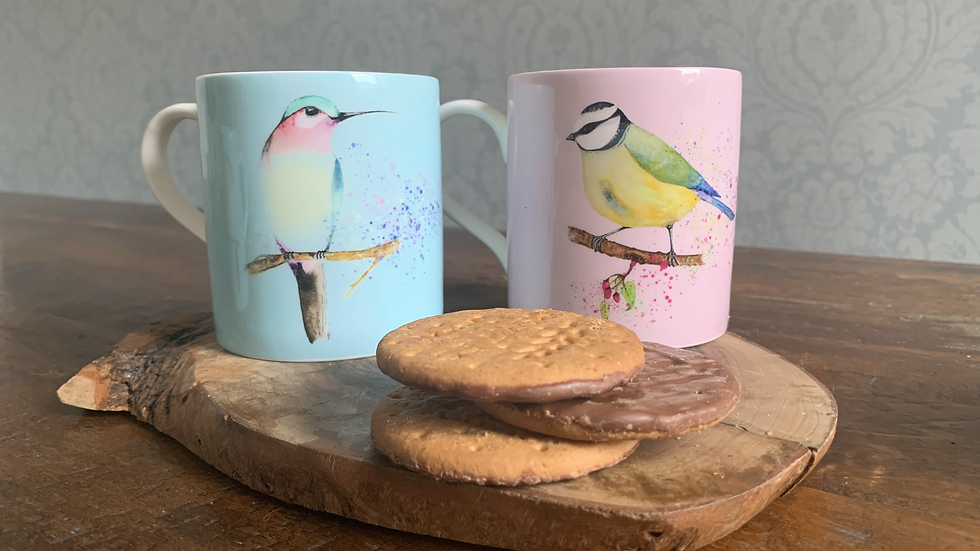 'Bird and Botanical' set of two mugs