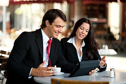 Businessman and Businesswoman Discussing