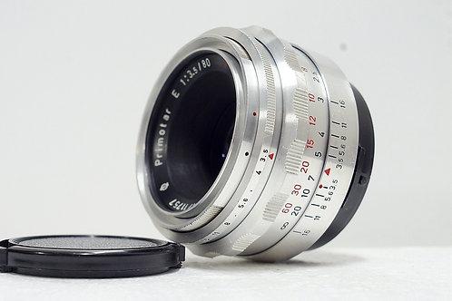 罕見 Meyer Optik Primotar 紅V 80mm f3.5, Made in Germany (非常新淨)
