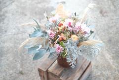 Strawflower, Azalea, Vibirnum Bouquet (WV).jpg