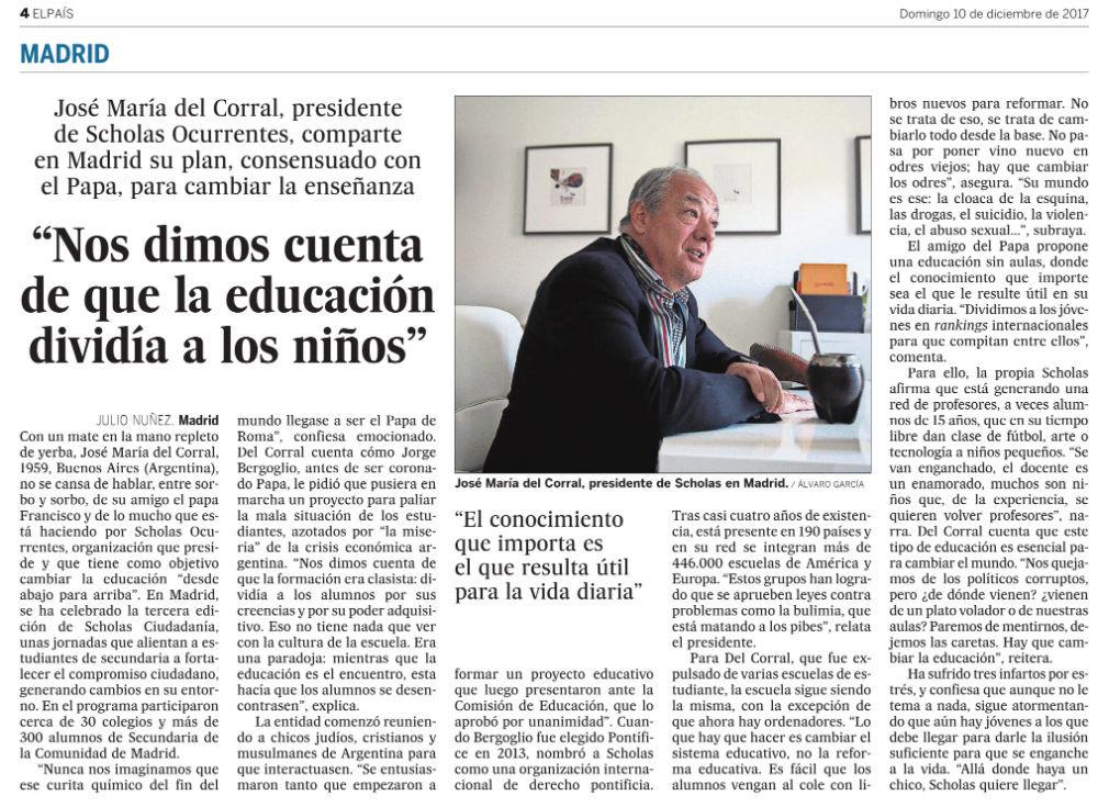 Recorte de prensa del diario El País