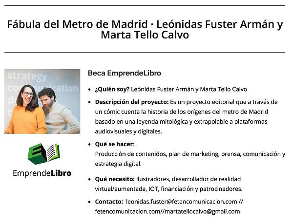 Fábula el Metro de Madrid, beca EmprendeLibro, Factoría Cultural