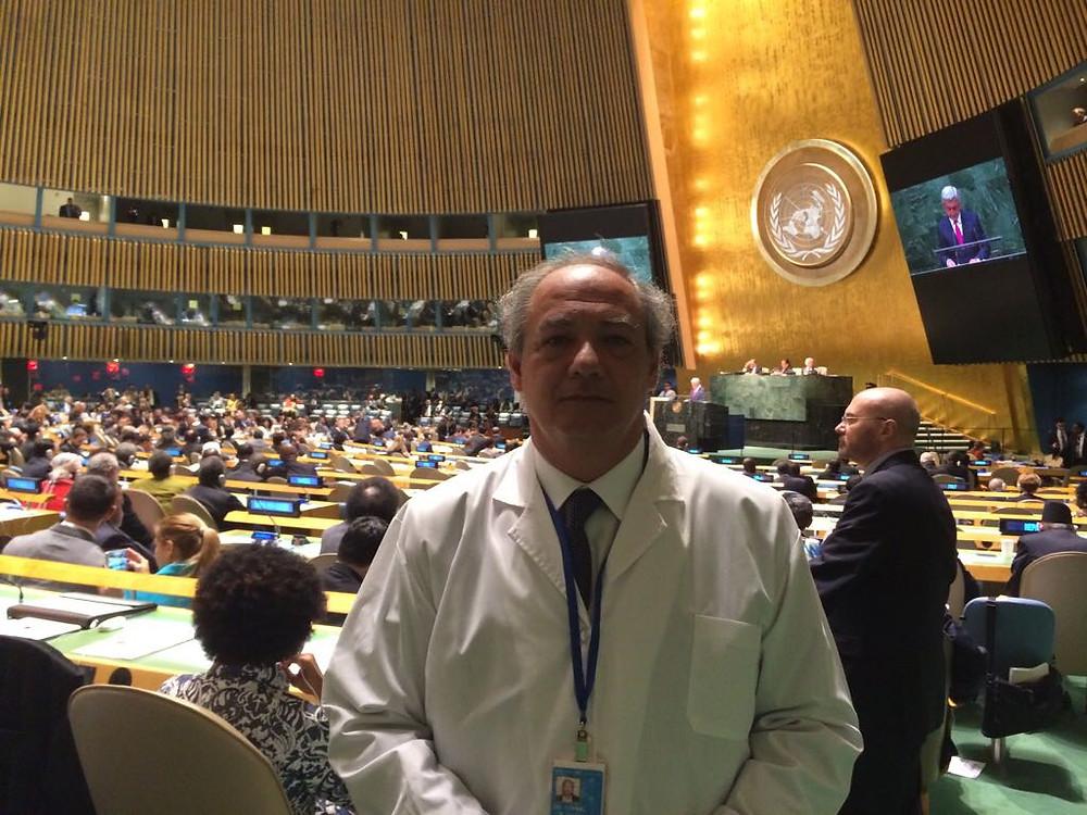 José María del Corral, Director Mundial de Scholas Occurrentes, cuando fue enviado en el 2014 por el Papa Francisco a presentar la iniciativa de la Fundación en la Asamblea General de la ONU.