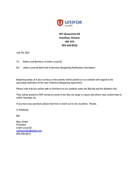 Info on Future Bell Bargaining Posts