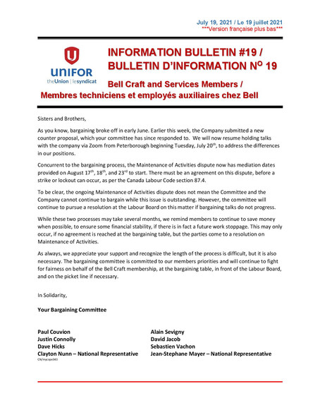 Bell Craft and Services Bulletin #19
