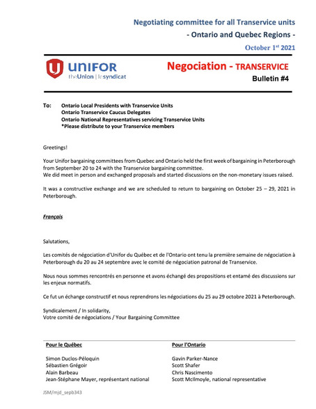 Transervice Bargaining Report 4