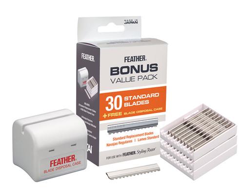 Feather Styling razor blades plus bonus disposal case, 30 razor pack