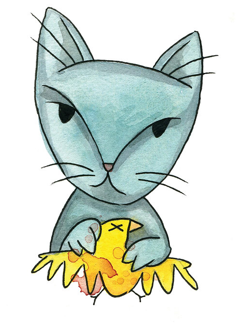 Blue Cat Yellow Bird 5x7 Print