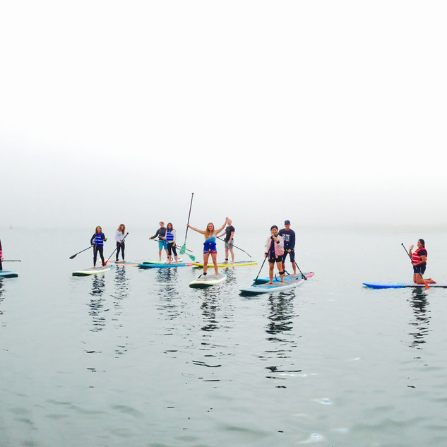 Large group of paddlers on paddleboards in the fog.