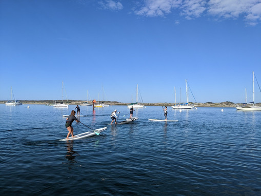 Paddlers practicing turns