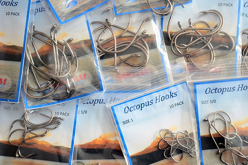 Octopus Hooks Size 6-9/0 10 pack
