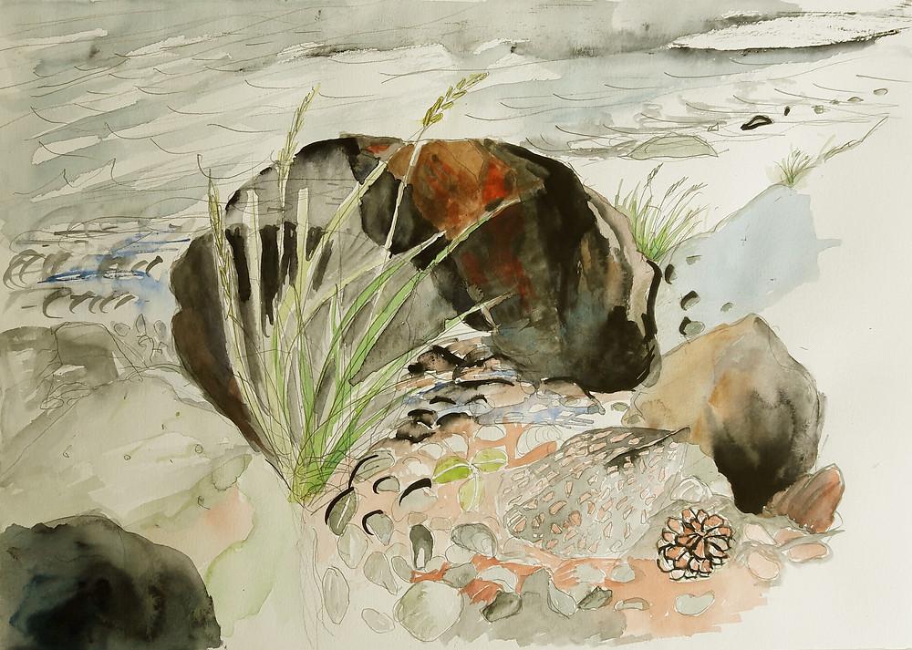 Stein på stranden