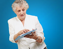 video book ipad senior woman