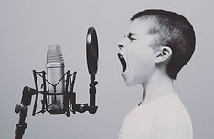 singing black and white shouting microphone audio
