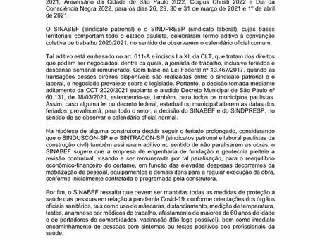 URGENTE: FERIADO PROLONGADO EM SÃO PAULO // SETOR DE FUNDAÇÃO NÃO É OBRIGADO A PARAR