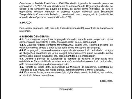 MP 936/2020 – redução de jornada e salário // suspensão temporária de contrato de trabalho