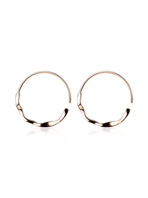 Sterling Silver Minimalist Hoop Earrings in Rose Gold