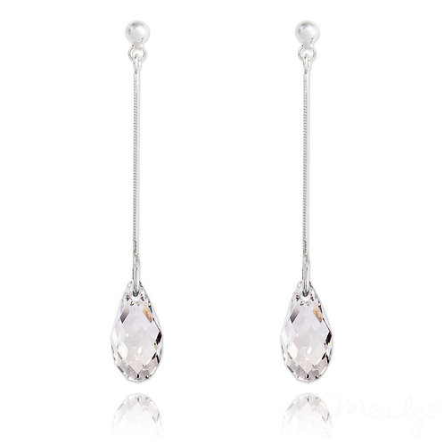 Meilys Briolette Silver Earrings with Swarovski Crystals