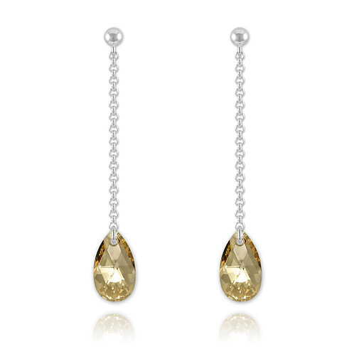 Meilys Pear Silver Drop Earrings with Swarovski Crystals