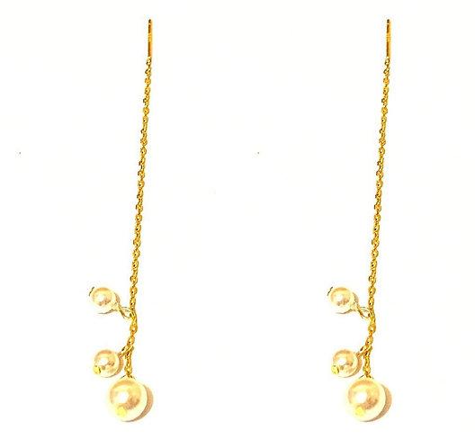 White Pearl Threader Earrings in Gold