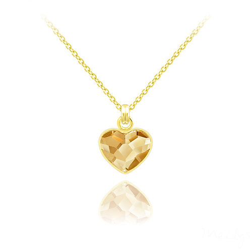 Small Heart Gold-Plated Silver Necklace with Swarovski Gold Crystal