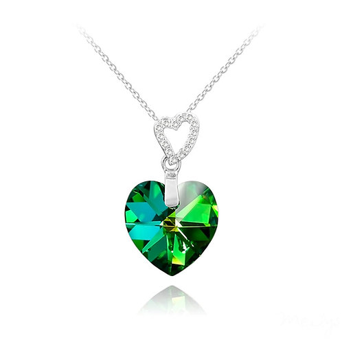 Meilys Two Hearts Silver Necklace with Swarovski Green Multi Crystal