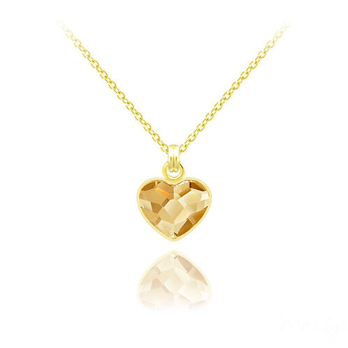 Meilys Small Heart Gold-Plated Silver Necklace with Swarovski Gold Crystal