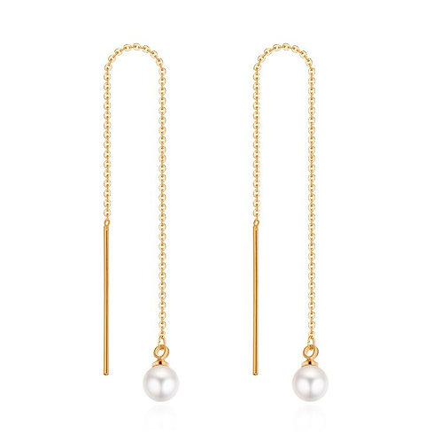 Long Pearl Earrings in Gold