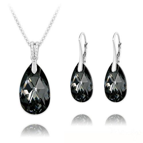 Meilys Pear Silver Jewellery Set with Swarovski Crystals