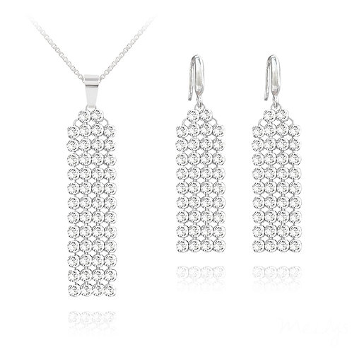 Meilys Mesh Four Strands Silver Jewellery Set with Swarovski White Crystals