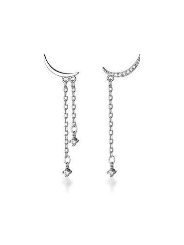 Sterling Silver Asymmetric Moon Earrings