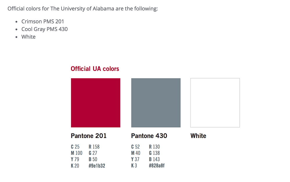 University of Alabama Brand Color Chart