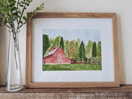 DIY Watercolor Red Barn