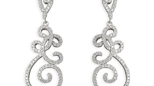 Silver Fancy Cz Drop Earrings