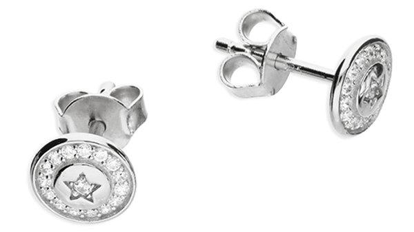 Silver Round Star Earrings