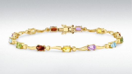 9ct Multi Stone Gold Bracelet