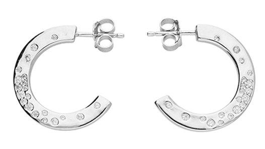 Silver Cz Hoop Earring