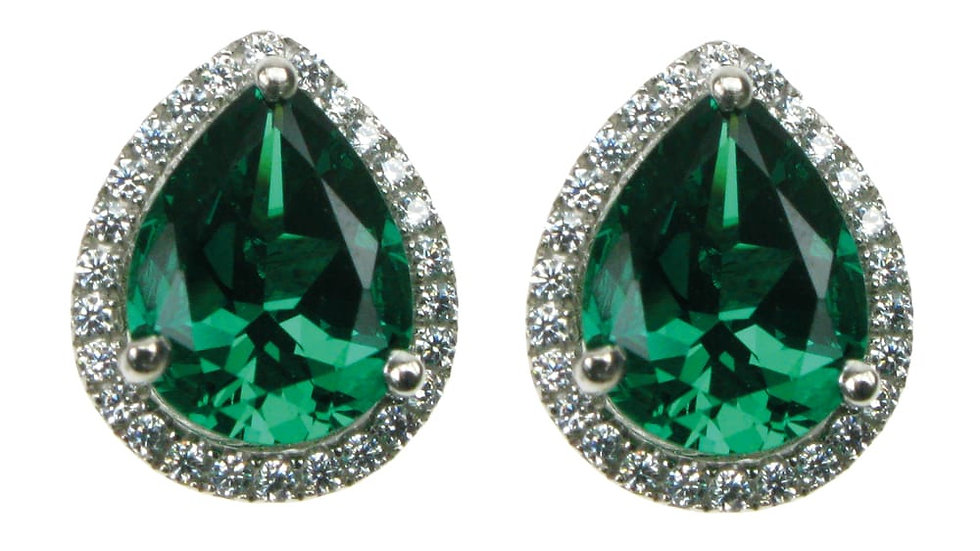 Silver Created Emerald & cz Cluster Earrings